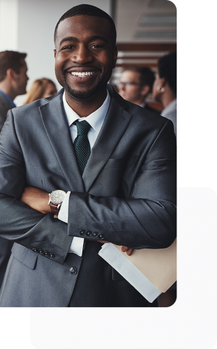 business man smiling with arms folded