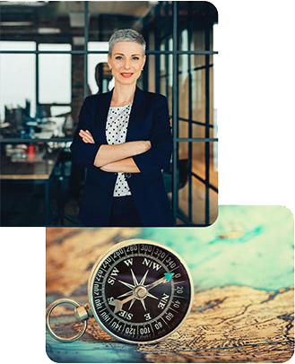 two image collage of woman and compass