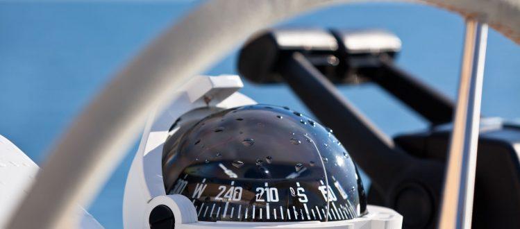close up of a ship compass