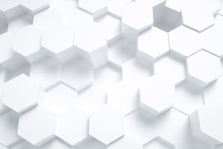 white hexagon shapes